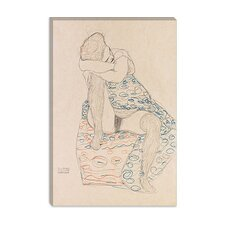 "<strong>iCanvasArt</strong> ""Seated Figure with Gathered up Skirt"" Canvas Wall Art by Gustav Klimt"