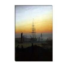 "<strong>iCanvasArt</strong> ""Ships in Greifswald Harbor"" Canvas Wall Art by Caspar David Friedrich"