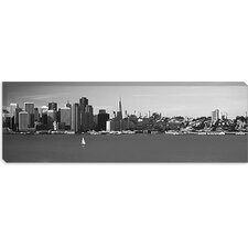 <strong>iCanvasArt</strong> San Francisco Panoramic Skyline Cityscape ( Black and White) Canvas Wall Art