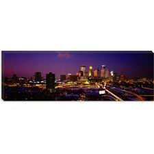 <strong>iCanvasArt</strong> Skyscrapers Lit up at Dusk, Minneapolis, Minnesota Canvas Wall Art