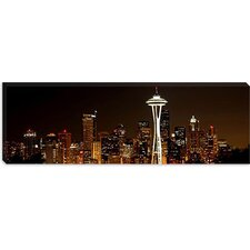 <strong>iCanvasArt</strong> Seattle Panoramic Skyline Cityscape (Night) Canvas Wall Art