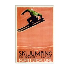 <strong>iCanvasArt</strong> Ski Jumping (Milwaukee - Racine) Advertising Vintage Poster