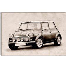 "<strong>iCanvasArt</strong> ""Mini Cooper Sketch"" Canvas Wall Art by Michael Thompsett"