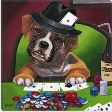 <strong>iCanvasArt</strong> Poker Dogs Jenny Newland Canvas Wall Art
