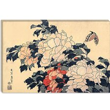 "<strong>iCanvasArt</strong> ""Peonies and Butterfly"" Canvas Wall Art by Katsushika Hokusai"