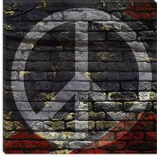 <strong>iCanvasArt</strong> Peace Sign, USA Flag, Brick Wall Canvas Wall Art