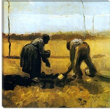 "<strong>iCanvasArt</strong> ""Peasant and Peasant-Woman Planting Potatoes"" Canvas Wall Art by Vincent van Gogh"