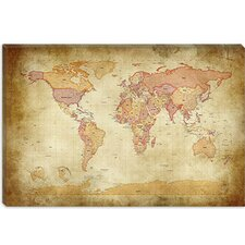 "<strong>iCanvasArt</strong> ""Map of The World II"" Cancas Wall Art by Michael Thompsett"