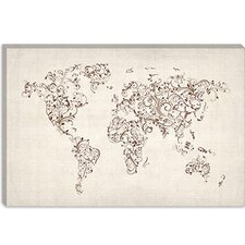 "<strong>iCanvasArt</strong> ""Map of the World Map Floral Swirls"" Cancas Wall Art by Michael Thompsett"