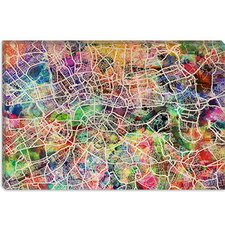"<strong>iCanvasArt</strong> ""London Map Watercolor II"" Canvas Wall Art by Michael Thompsett"