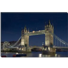 <strong>iCanvasArt</strong> London Tower Bridge at Night Photographic Canvas Wall Art