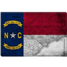 <strong>iCanvasArt</strong> North Carolina Flag, Grunge Vintage Map Canvas Wall Art