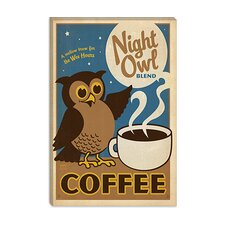 <strong>iCanvasArt</strong> Night Owl Coffee Canvas Wall Art