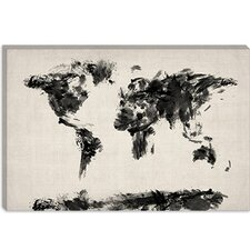 "<strong>iCanvasArt</strong> ""Map of The World Paint Splashes"" Cancas Wall Art by Michael Thompsett"