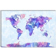 "<strong>iCanvasArt</strong> ""Map of The World Paint Splashes V"" Cancas Wall Art by Michael Thompsett"