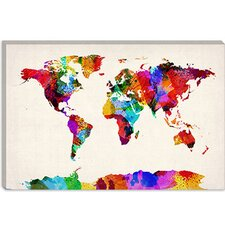 "<strong>iCanvasArt</strong> ""Map of The World (Abstract Painting) II"" Cancas Wall Art by Michael Thompsett"
