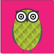 <strong>iCanvasArt</strong> Owl Pink Canvas Wall Art