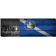 "<strong>iCanvasArt</strong> Las Vegas Flag, ""New York"" with Wood Planks Panoramic Canvas Wall Art"