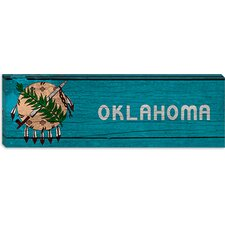 <strong>iCanvasArt</strong> Oklahoma Flag, Wood Planks Panoramic Canvas Wall Art