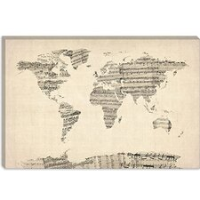 """Old Sheet Music World Map"" Canvas Wall Art by Michael Thompsett"