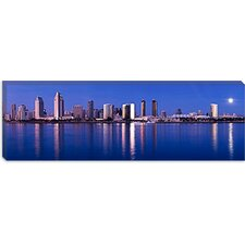 <strong>iCanvasArt</strong> Moonrise over a City, San Diego, California 2010 Canvas Wall Art
