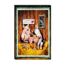 "<strong>iCanvasArt</strong> ""Wine, Dine and Swine"" Canvas Wall Art by Charlsie Kelly"