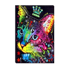 "<strong>iCanvasArt</strong> ""Thinking Cat Crowned"" Canvas Wall Art by Dean Russo"