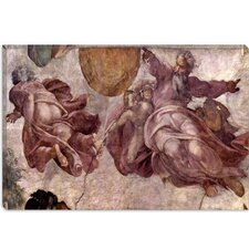"<strong>iCanvasArt</strong> ""The Creation of the Sun, Moon and Earth 1535-1541"" Canvas Wall Art by Michelangelo"