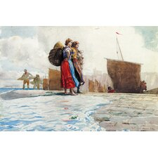 """The Breakwater, Cullercoats 1882"" Canvas Wall Art by Winslow Homer"
