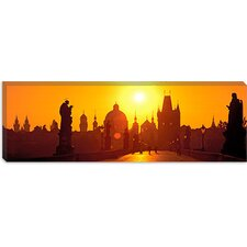 <strong>iCanvasArt</strong> Statues along a Bridge, Charles Bridge, Prague, Czech Republic Canvas Wall Art