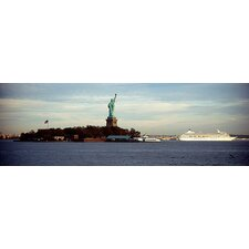 Statue on an Island in the sea, Statue of Liberty, Liberty Island, New York City Canvas Wall Art