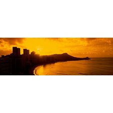 <strong>iCanvasArt</strong> Hawaii, Honolulu, Waikiki Beach, Sunrise View of City and Beach Canvas Wall Art