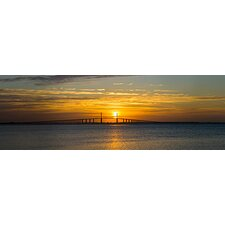 <strong>iCanvasArt</strong> Sunrise over Sunshine Skyway Bridge, Tampa Bay, Florida Canvas Wall Art