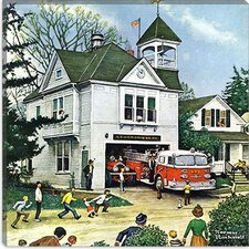 """The New American LaFrance is Here (Firehouse)"" Canvas Wall Art by Norman Rockwell"