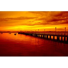 <strong>iCanvasArt</strong> Sunset at the Pier Canvas Wall Art