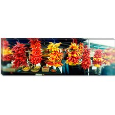Strands of Chili Peppers Hanging in a Market Stall, Pike Place Market, Seattle, King County, Washington State Canvas Wall Art