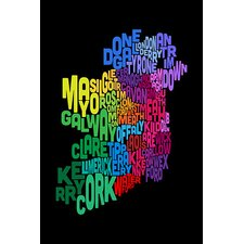 """Text Map of Ireland III"" Canvas Wall Art by Michael Thompsett"