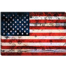 <strong>iCanvasArt</strong> U.S.A. Flag, Grunge Metal Canvas Wall Art
