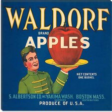 <strong>iCanvasArt</strong> Waldorf Apples Vintage Crate Label Canvas Wall Art