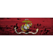 <strong>iCanvasArt</strong> U.S. Marine Flag, Grunge Modern Soldiers Panoramic Canvas Wall Art