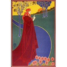 <strong>iCanvasArt</strong> Woman in Red Cloak on a Road Vintage Poster