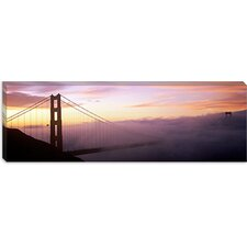 <strong>iCanvasArt</strong> Suspension Bridge Covered with Fog Viewed from Hawk Hill, Golden Gate Bridge, San Francisco Bay, California Canvas Wall Art