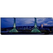 <strong>iCanvasArt</strong> Towers Lit up at Dusk, Convention Center, Portland, Oregon Canvas Wall Art