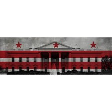 <strong>iCanvasArt</strong> Washington, D.C, Flag, Whitehouse Panoramic Canvas Wall Art