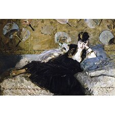 "<strong>iCanvasArt</strong> ""The Lady with Fans (Nina de Callias)"" Canvas Wall Art by Edouard Manet"
