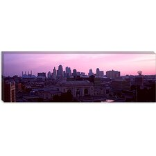 Union Station at Sunset with City Skyline in Background, Kansas City, Missouri Canvas Wall Art