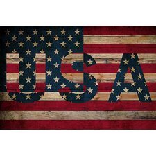 <strong>iCanvasArt</strong> U.S.A. American Flag, Stars Wood Boards Canvas Wall Art