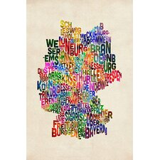 "<strong>iCanvasArt</strong> ""Text Map of Germany III"" Canvas Wall Art by Michael Thompsett"