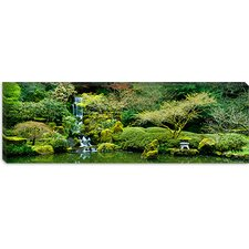 <strong>iCanvasArt</strong> Waterfall in a Garden, Japanese Garden, Washington Park, Portland, Oregon Canvas Wall Art