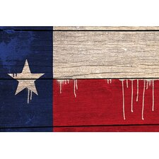 <strong>iCanvasArt</strong> Texas Flag, Wood Planks with Paint Drips Canvas Wall Art